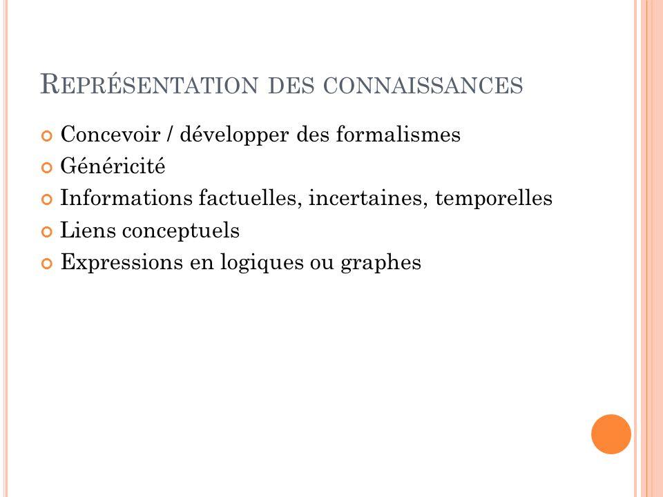 R EPRÉSENTATION DES CONNAISSANCES Concevoir / développer des formalismes Généricité Informations factuelles, incertaines, temporelles Liens conceptuel