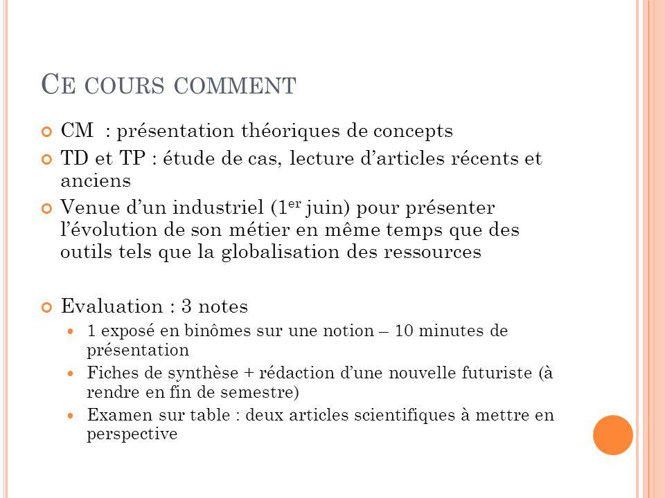 C E COURS COMMENT CM : présentation théoriques de concepts TD et TP : étude de cas, lecture darticles récents et anciens Venue dun industriel (1 er ju