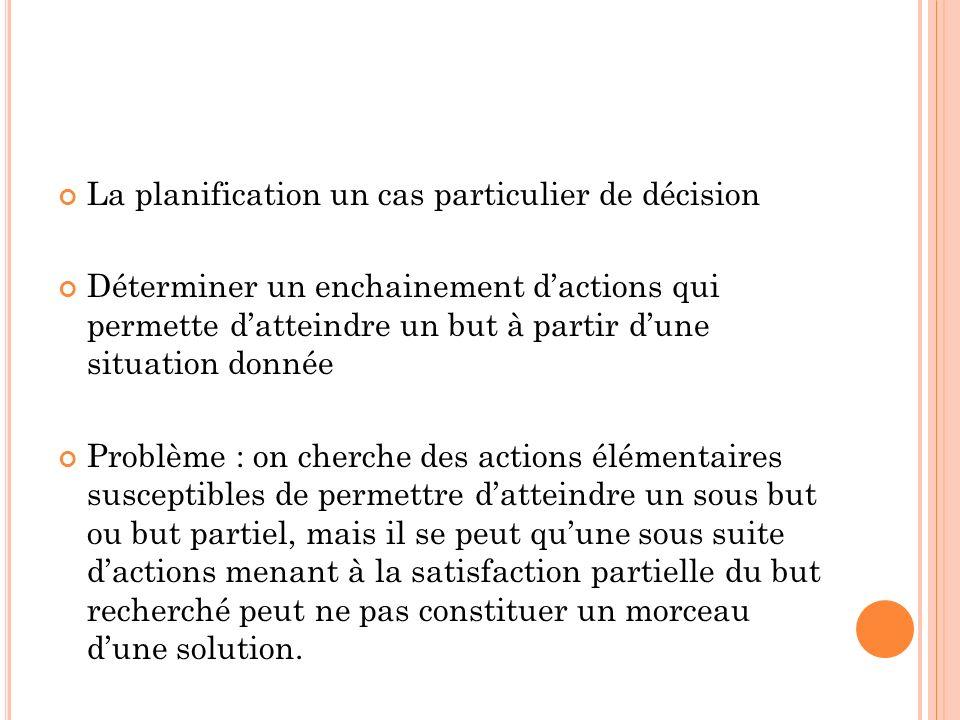 La planification un cas particulier de décision Déterminer un enchainement dactions qui permette datteindre un but à partir dune situation donnée Prob
