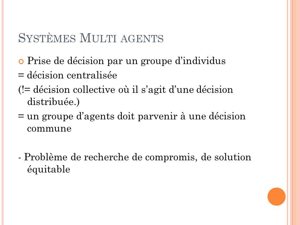 S YSTÈMES M ULTI AGENTS Prise de décision par un groupe dindividus = décision centralisée (!= décision collective où il sagit dune décision distribuée