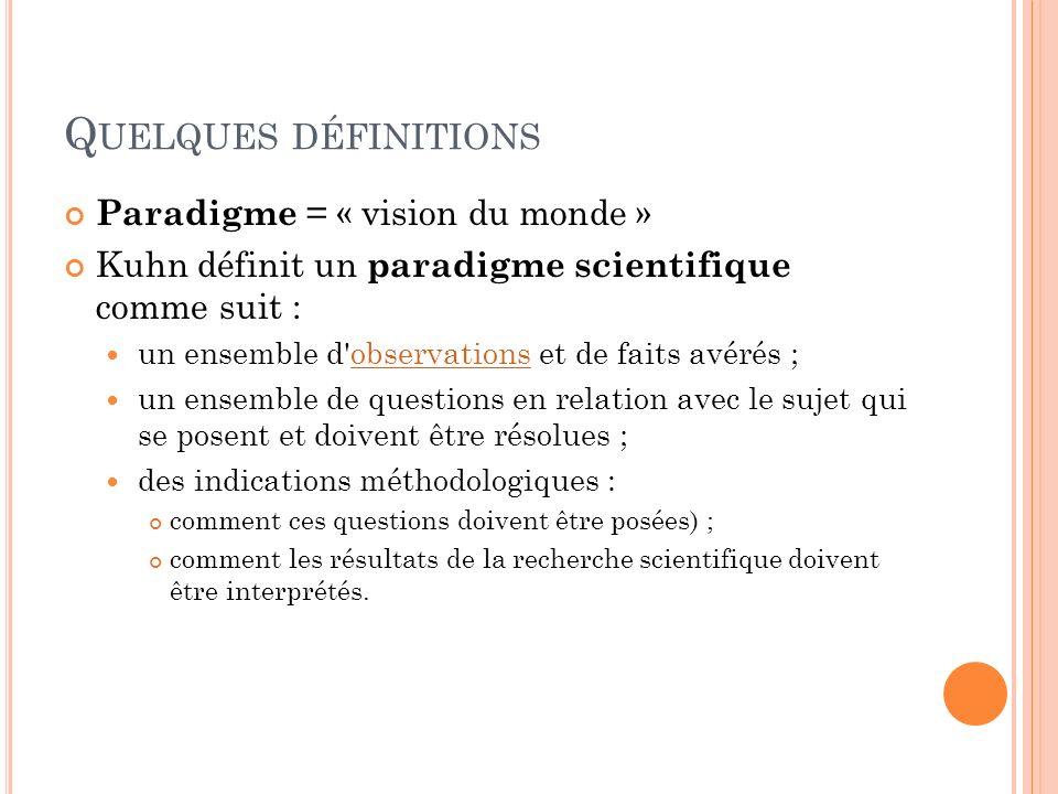 Q UELQUES DÉFINITIONS Paradigme = « vision du monde » Kuhn définit un paradigme scientifique comme suit : un ensemble d'observations et de faits avéré