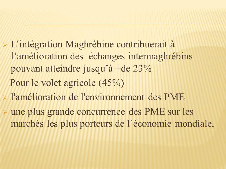 Lintégration Maghrébine contribuerait à lamélioration des échanges intermaghrébins pouvant atteindre jusquà +de 23% Pour le volet agricole (45%) l amélioration de l environnement des PME une plus grande concurrence des PME sur les marchés les plus porteurs de léconomie mondiale,