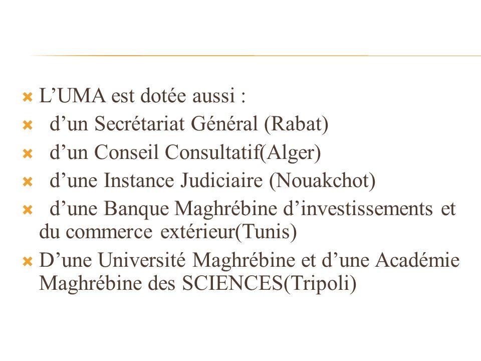 LUMA est dotée aussi : dun Secrétariat Général (Rabat) dun Conseil Consultatif(Alger) dune Instance Judiciaire (Nouakchot) dune Banque Maghrébine dinvestissements et du commerce extérieur(Tunis) Dune Université Maghrébine et dune Académie Maghrébine des SCIENCES(Tripoli)