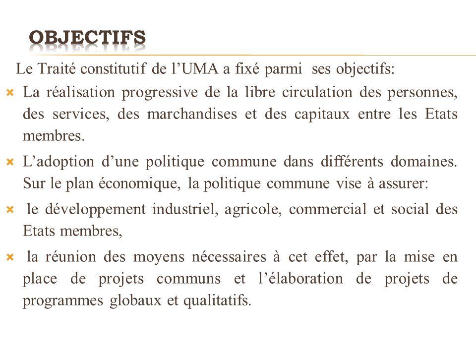 Le Traité constitutif de lUMA a fixé parmi ses objectifs: La réalisation progressive de la libre circulation des personnes, des services, des marchandises et des capitaux entre les Etats membres.