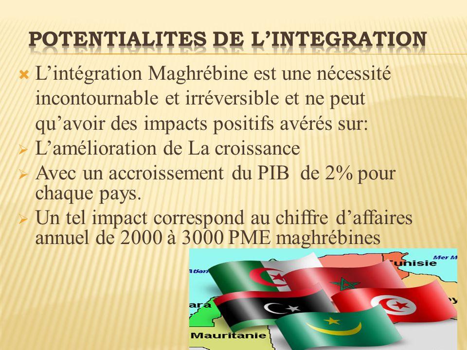 Lintégration Maghrébine est une nécessité incontournable et irréversible et ne peut quavoir des impacts positifs avérés sur: Lamélioration de La croissance Avec un accroissement du PIB de 2% pour chaque pays.