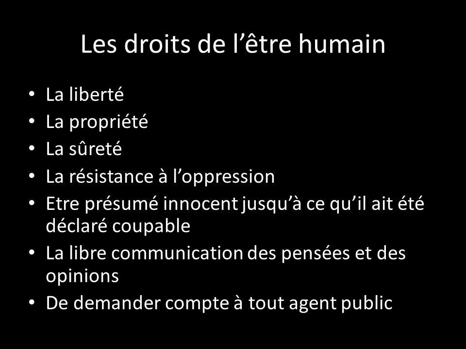 Les droits de lêtre humain La liberté La propriété La sûreté La résistance à loppression Etre présumé innocent jusquà ce quil ait été déclaré coupable