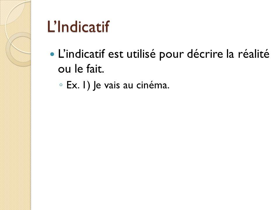 LIndicatif Lindicatif est utilisé pour décrire la réalité ou le fait. Ex. 1) Je vais au cinéma.