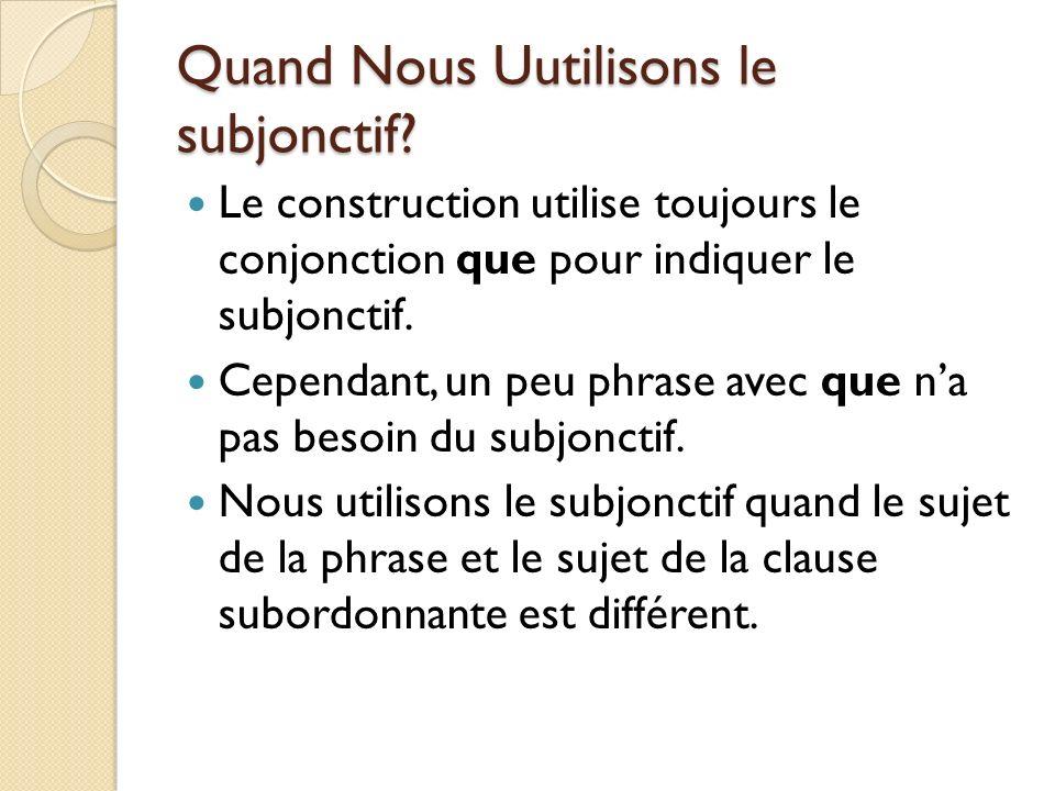 Quand Nous Uutilisons le subjonctif? Le construction utilise toujours le conjonction que pour indiquer le subjonctif. Cependant, un peu phrase avec qu