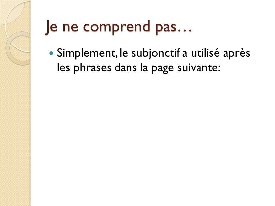Je ne comprend pas… Simplement, le subjonctif a utilisé après les phrases dans la page suivante: