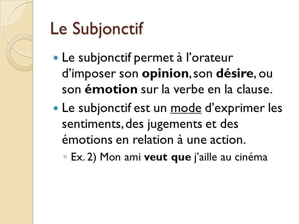 Le Subjonctif Le subjonctif permet à lorateur dimposer son opinion, son désire, ou son émotion sur la verbe en la clause. Le subjonctif est un mode de