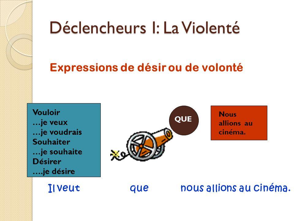 Déclencheurs I: La Violenté Expressions de désir ou de volonté QUE Nous allions au cinéma. Vouloir …je veux …je voudrais Souhaiter …je souhaite Désire