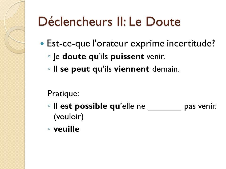 Déclencheurs II: Le Doute Est-ce-que lorateur exprime incertitude? Je doute quils puissent venir. Il se peut quils viennent demain. Pratique: Il est p