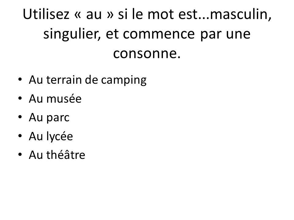 Au terrain de camping Au musée Au parc Au lycée Au théâtre