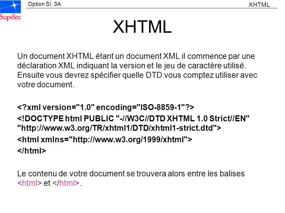 Option SI, 3A XHTML Un document XHTML étant un document XML il commence par une déclaration XML indiquant la version et le jeu de caractère utilisé. E