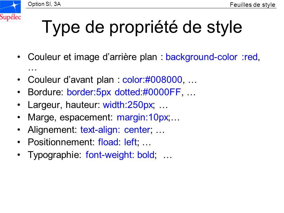 Option SI, 3A Type de propriété de style Couleur et image darrière plan : background-color :red, … Couleur davant plan : color:#008000, … Bordure: bor