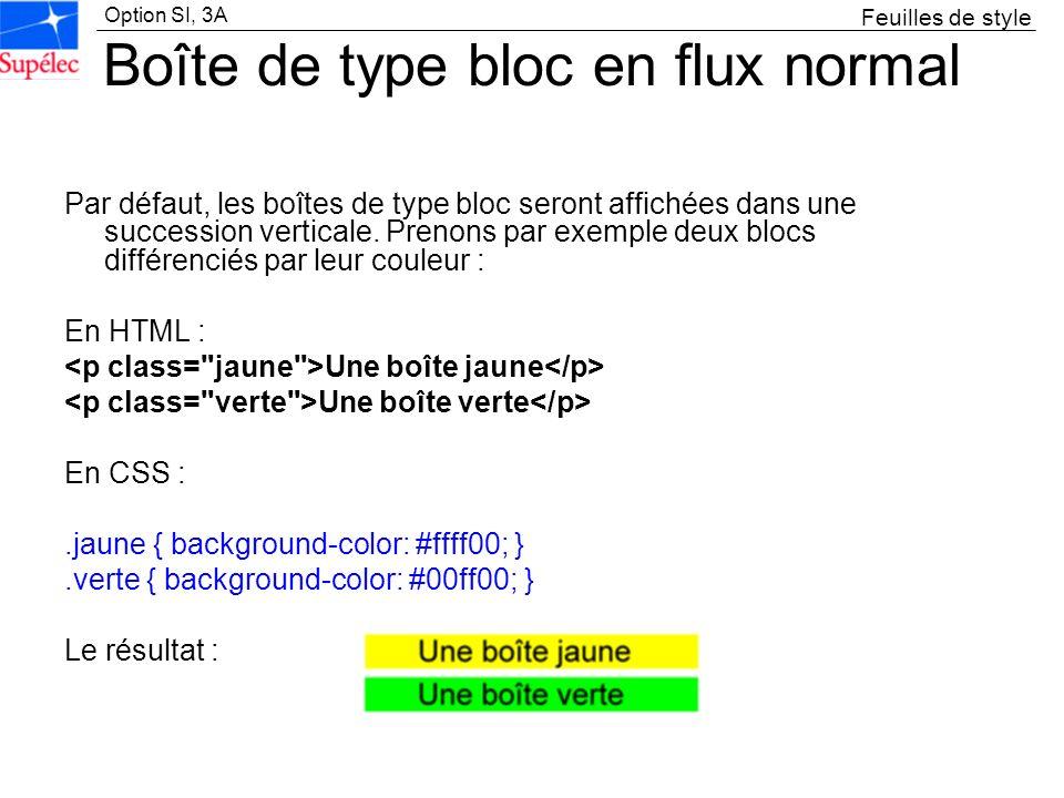 Option SI, 3A Boîte de type bloc en flux normal Par défaut, les boîtes de type bloc seront affichées dans une succession verticale. Prenons par exempl