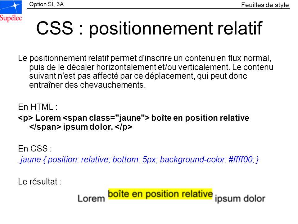 Option SI, 3A CSS : positionnement relatif Le positionnement relatif permet d'inscrire un contenu en flux normal, puis de le décaler horizontalement e