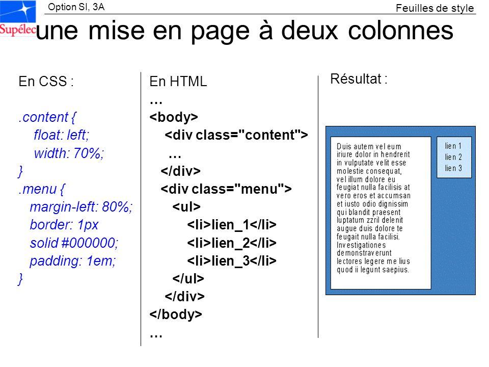 Option SI, 3A une mise en page à deux colonnes En CSS :.content { float: left; width: 70%; }.menu { margin-left: 80%; border: 1px solid #000000; paddi