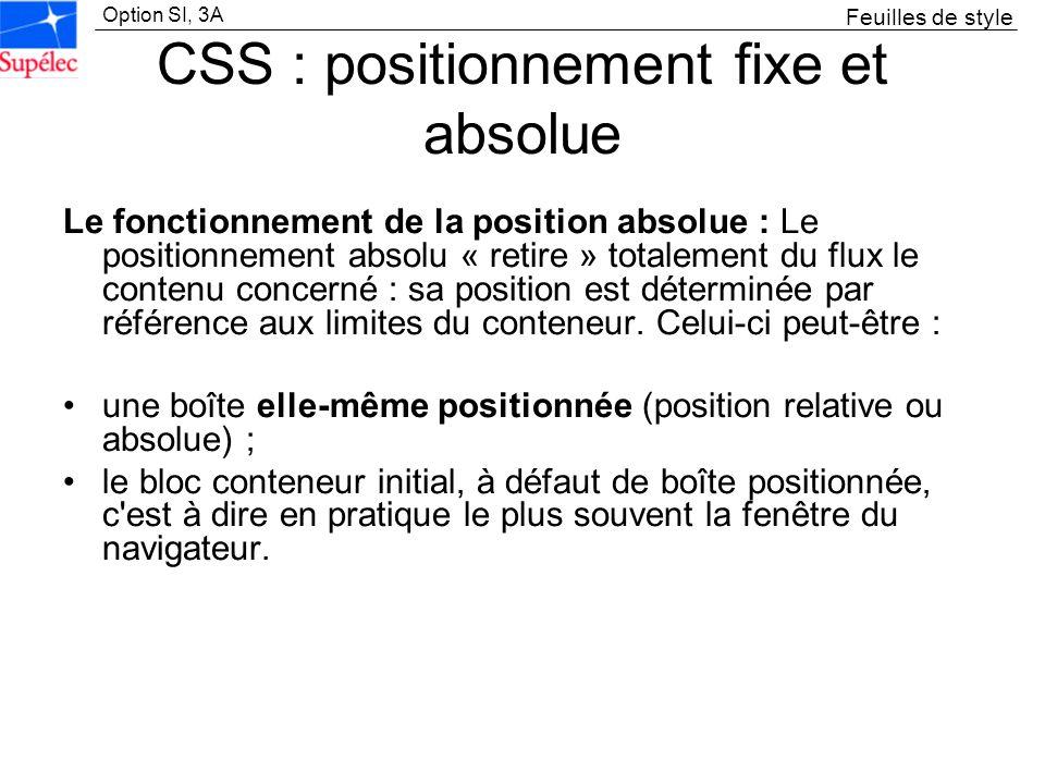 Option SI, 3A CSS : positionnement fixe et absolue Le fonctionnement de la position absolue : Le positionnement absolu « retire » totalement du flux l