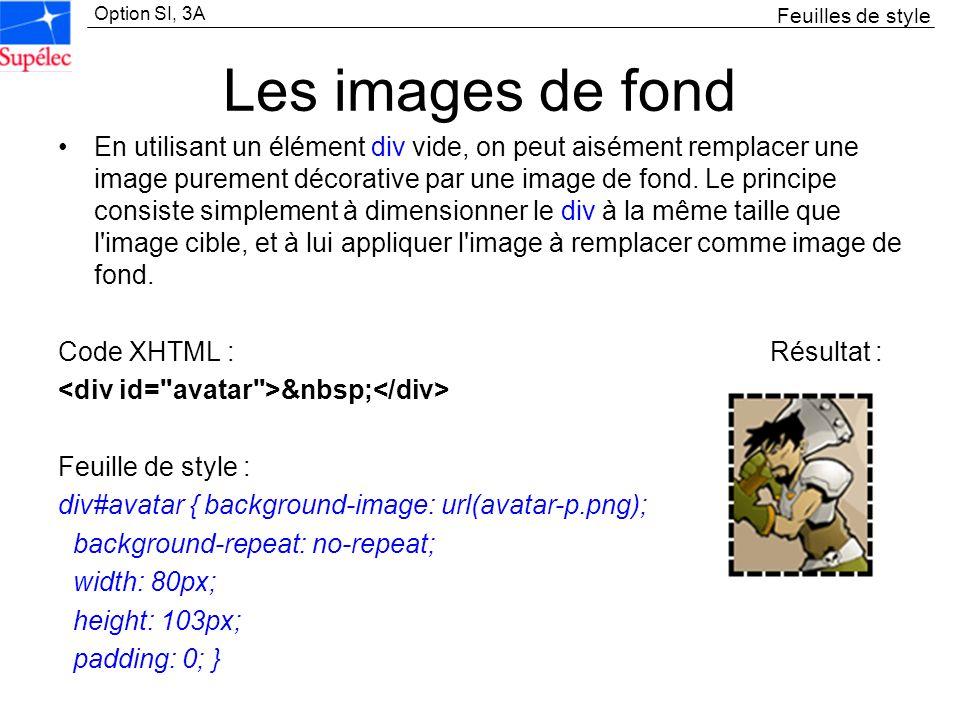 Option SI, 3A Les images de fond En utilisant un élément div vide, on peut aisément remplacer une image purement décorative par une image de fond. Le