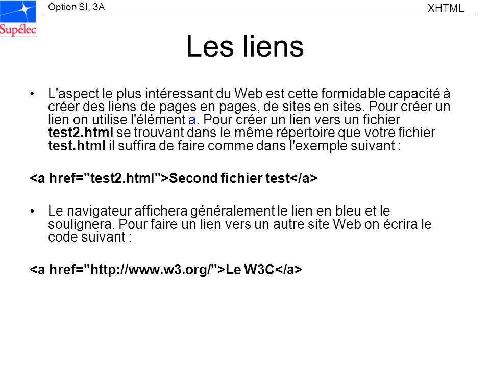 Option SI, 3A Les liens L'aspect le plus intéressant du Web est cette formidable capacité à créer des liens de pages en pages, de sites en sites. Pour