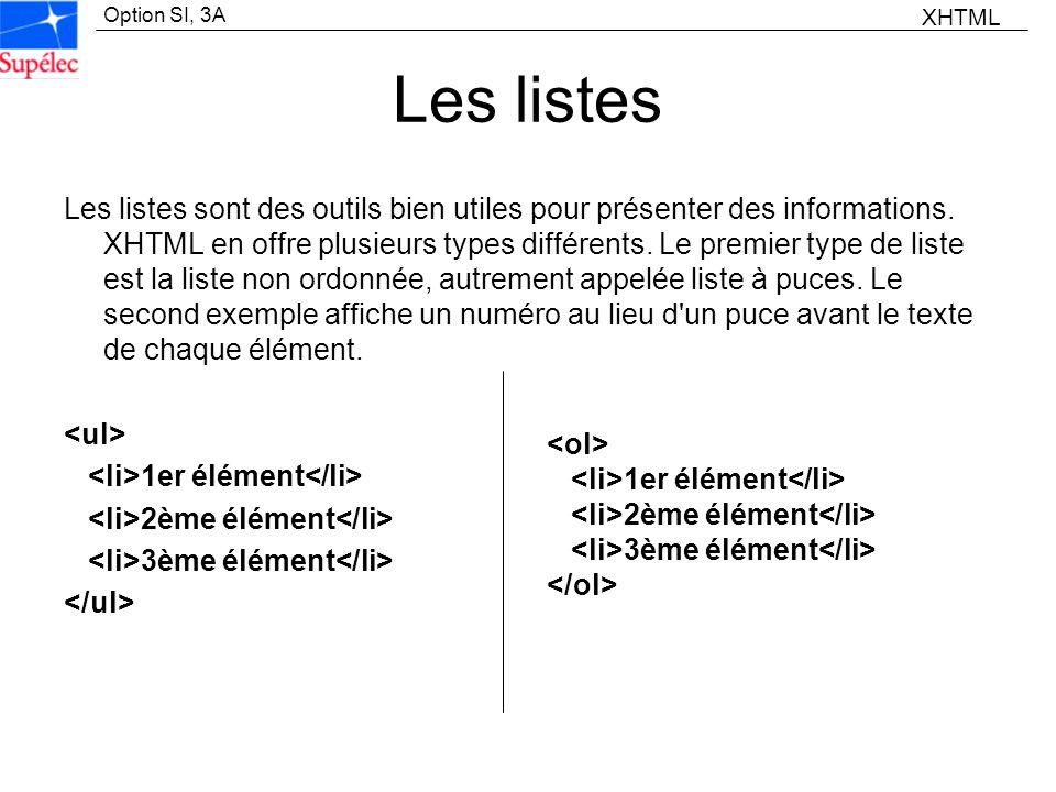 Option SI, 3A Les listes Les listes sont des outils bien utiles pour présenter des informations. XHTML en offre plusieurs types différents. Le premier
