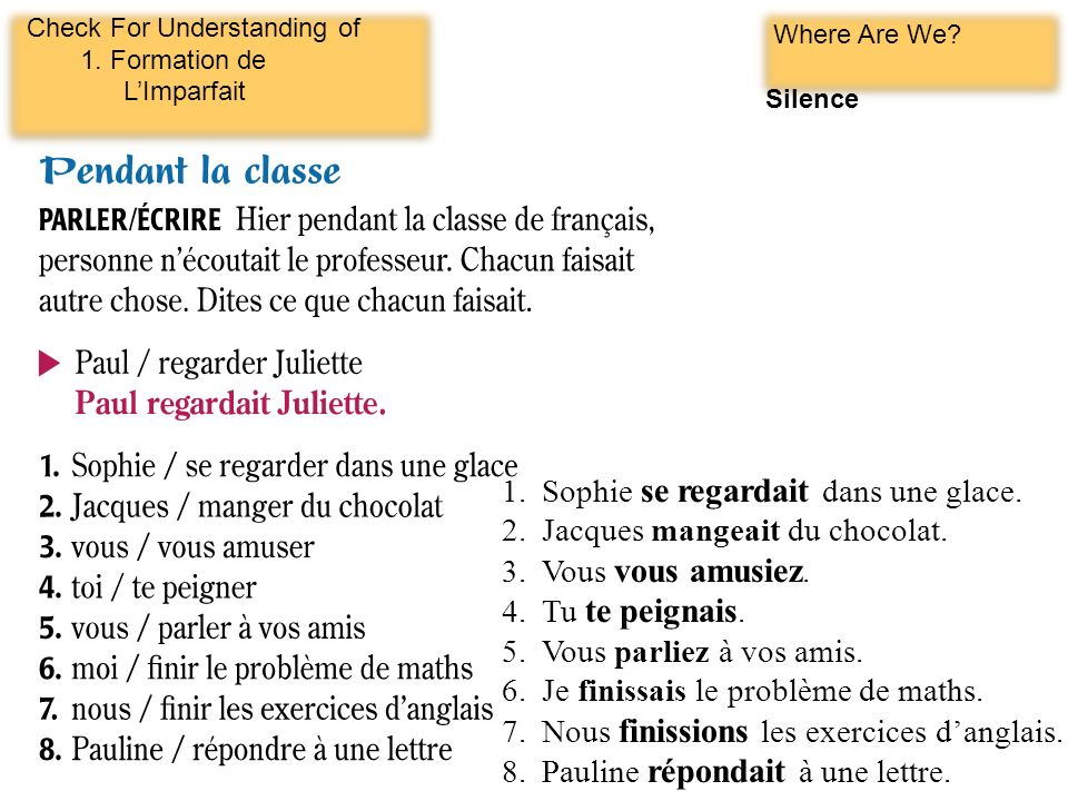 Check For Understanding of 1.Formation de LImparfait Where Are We.