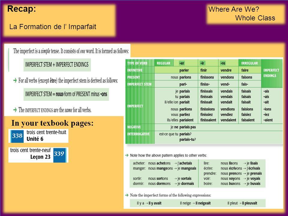 Recap: La Formation de l Imparfait Where Are We? Whole Class In your texbook pages: