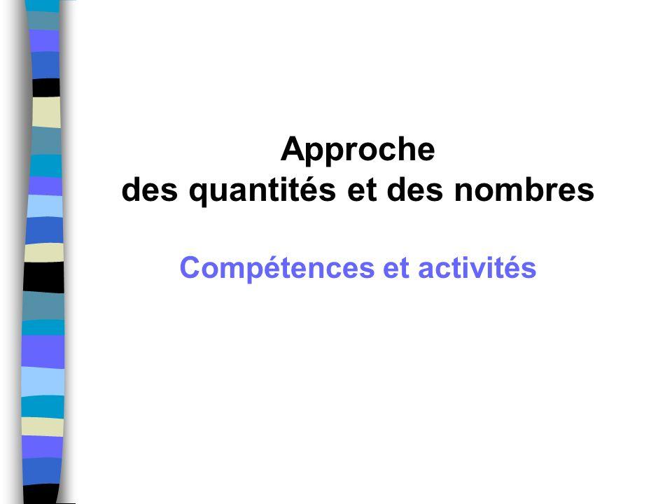 Les compétences visées Le nombre comme outil Compétence 1 Dénombrer une quantité en utilisant la suite orale des nombres connus ; Compétence 2 Comparer des quantités ; Compétence 3 Résoudre des problèmes portant sur les quantités ;