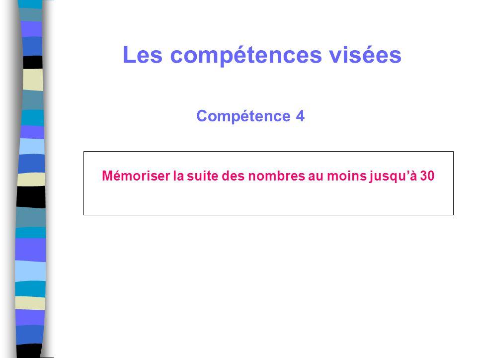Compétence 4 Mémoriser la suite des nombres au moins jusquà 30 Les compétences visées