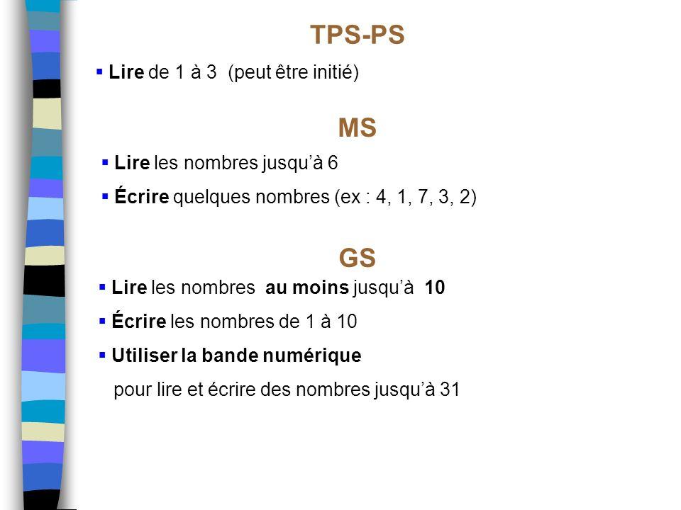 Lire de 1 à 3 (peut être initié) TPS-PS MS GS Lire les nombres jusquà 6 Écrire quelques nombres (ex : 4, 1, 7, 3, 2) Lire les nombres au moins jusquà