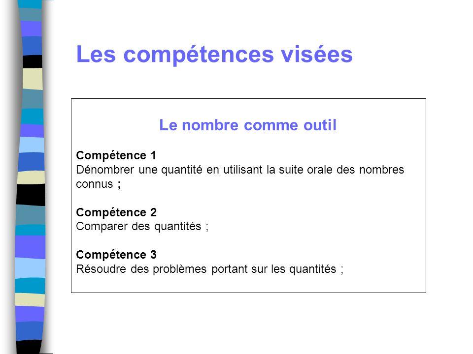 Les compétences visées Le nombre comme objet Compétence 4 Mémoriser la suite des nombres au moins jusquà 30 ; Compétence 5 Associer le nom de nombres connus avec leur écriture chiffrée ;