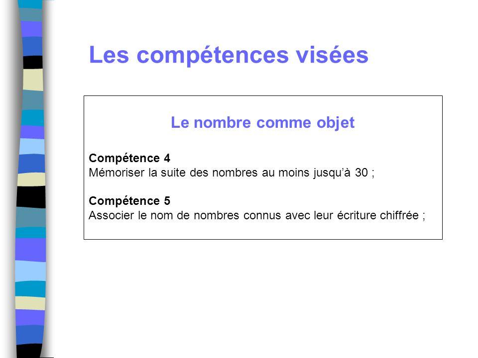 Les compétences visées Le nombre comme objet Compétence 4 Mémoriser la suite des nombres au moins jusquà 30 ; Compétence 5 Associer le nom de nombres