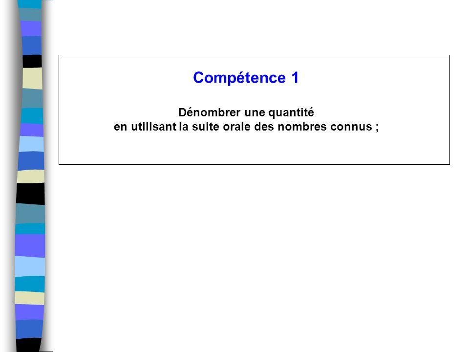 Compétence 1 Dénombrer une quantité en utilisant la suite orale des nombres connus ;