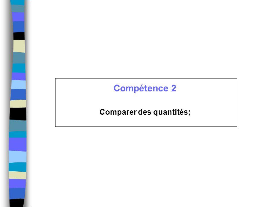 Compétence 2 Comparer des quantités;