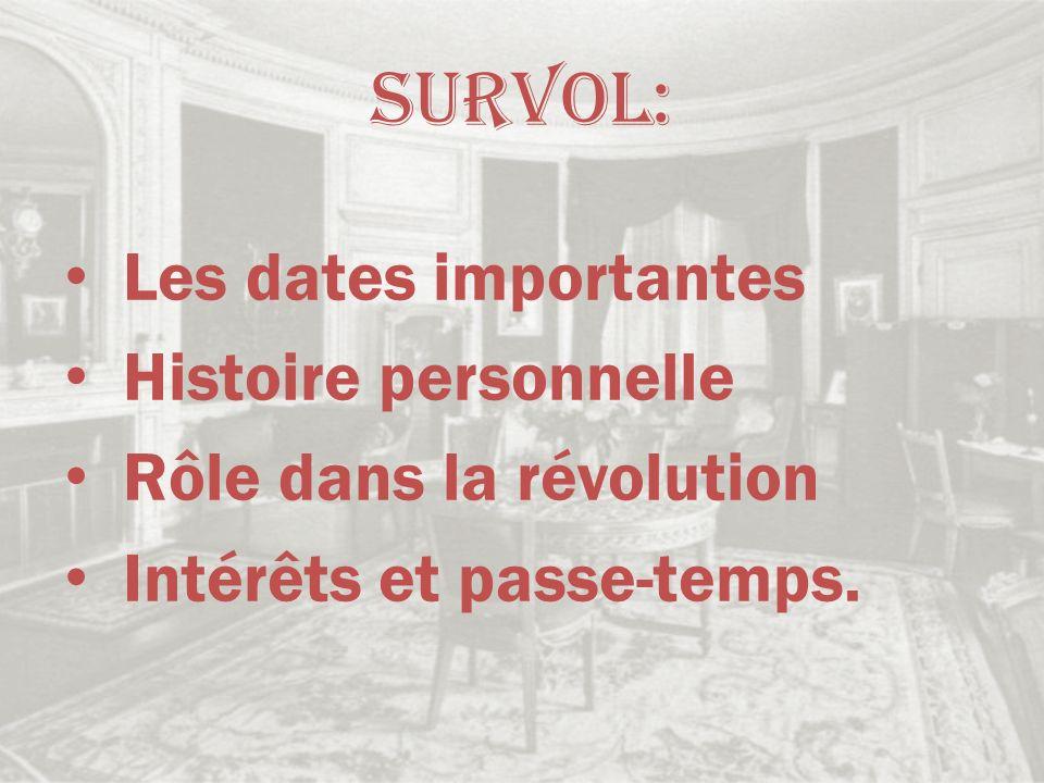 Survol: Les dates importantes Histoire personnelle Rôle dans la révolution Intérêts et passe-temps.