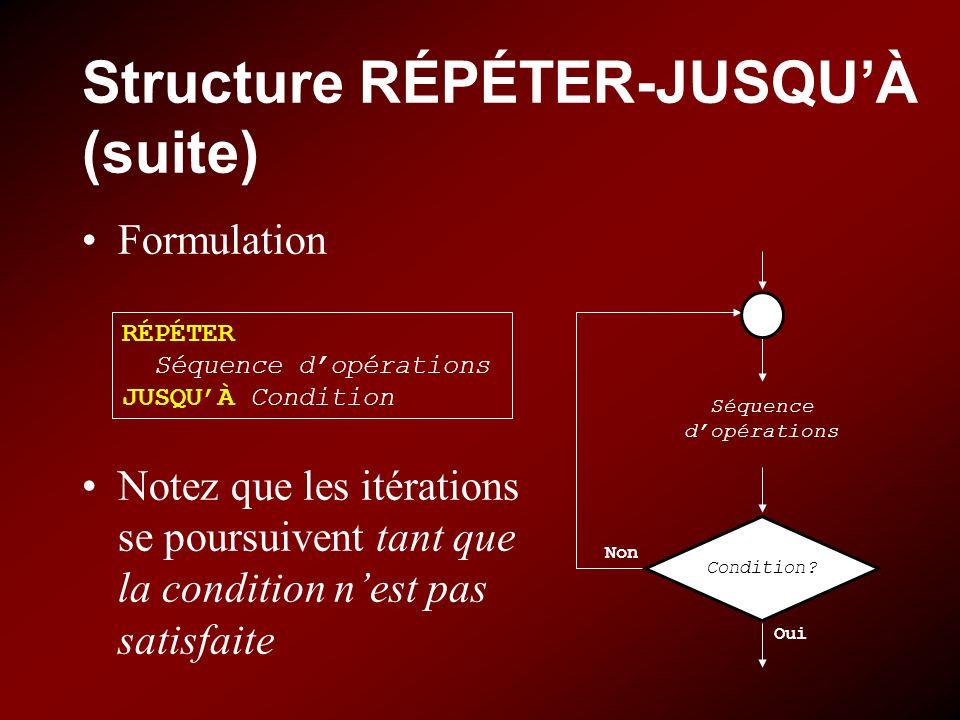 Structure RÉPÉTER-JUSQUÀ (suite) Formulation Notez que les itérations se poursuivent tant que la condition nest pas satisfaite RÉPÉTER Séquence dopéra