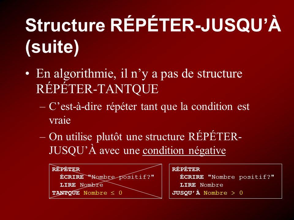 Structure RÉPÉTER-JUSQUÀ (suite) En algorithmie, il ny a pas de structure RÉPÉTER-TANTQUE –Cest-à-dire répéter tant que la condition est vraie –On uti