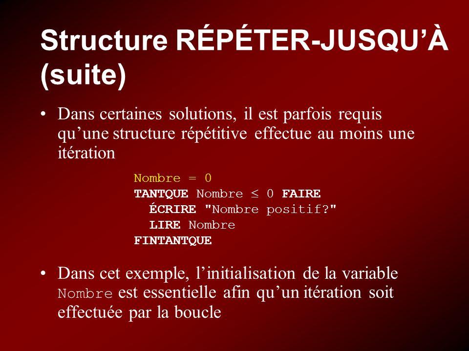 Structure RÉPÉTER-JUSQUÀ (suite) Dans certaines solutions, il est parfois requis quune structure répétitive effectue au moins une itération Dans cet e
