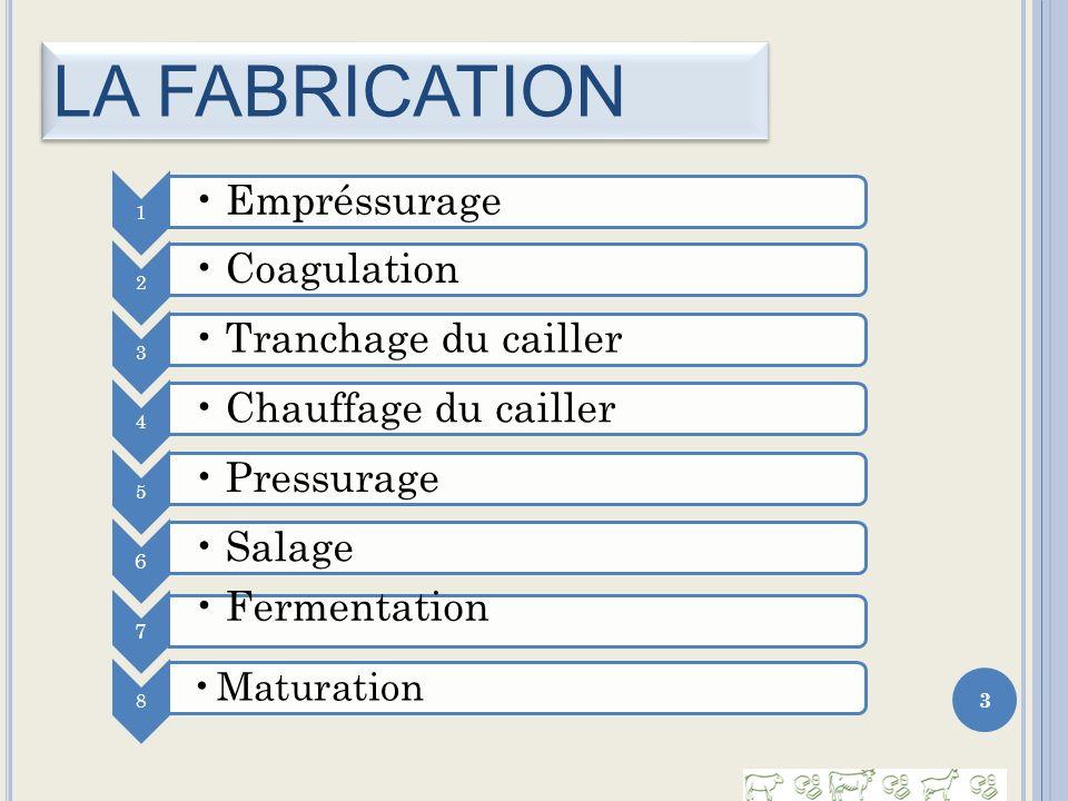 LA FABRICATION 3 1 Empréssurage 2 Coagulation 3 Tranchage du cailler 4 Chauffage du cailler 5 Pressurage 6 Salage 7 Fermentation 8 Maturation
