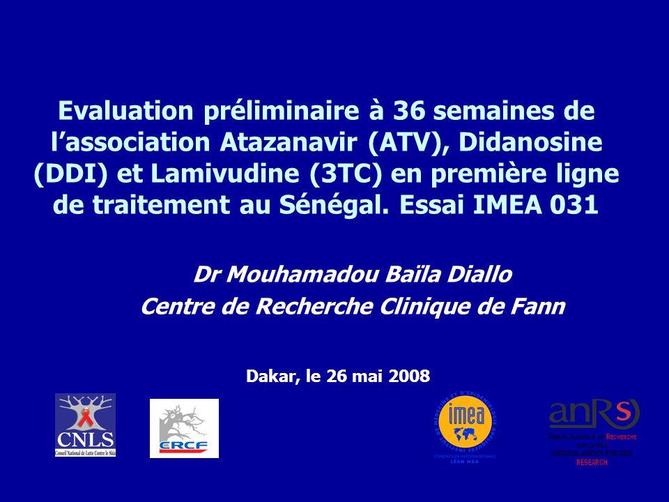 Evaluation préliminaire à 36 semaines de lassociation Atazanavir (ATV), Didanosine (DDI) et Lamivudine (3TC) en première ligne de traitement au Sénéga