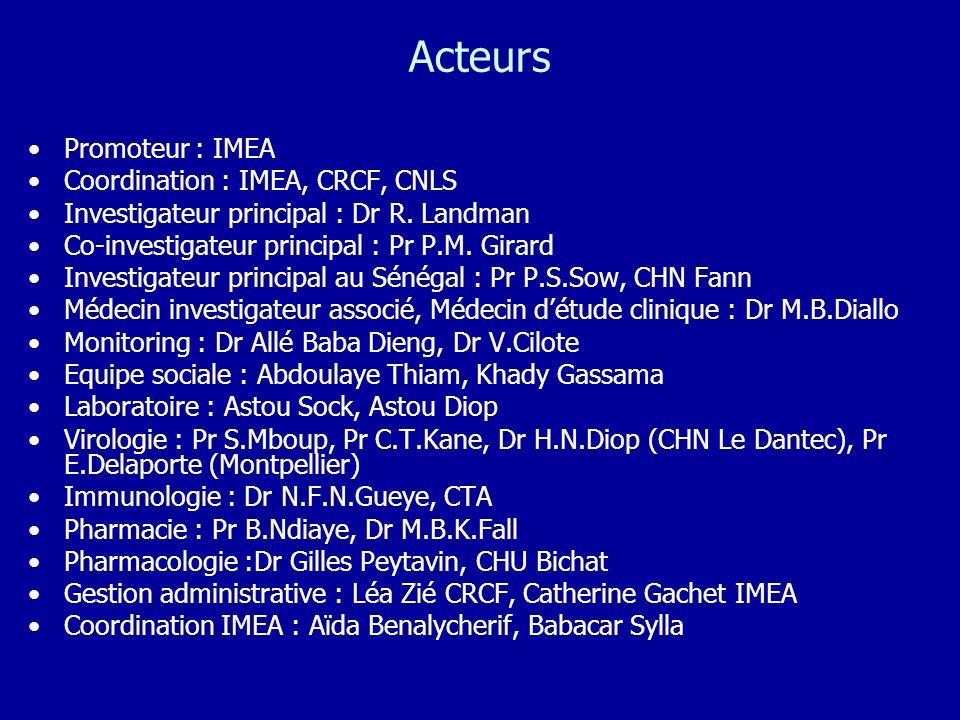 Acteurs Promoteur : IMEA Coordination : IMEA, CRCF, CNLS Investigateur principal : Dr R. Landman Co-investigateur principal : Pr P.M. Girard Investiga