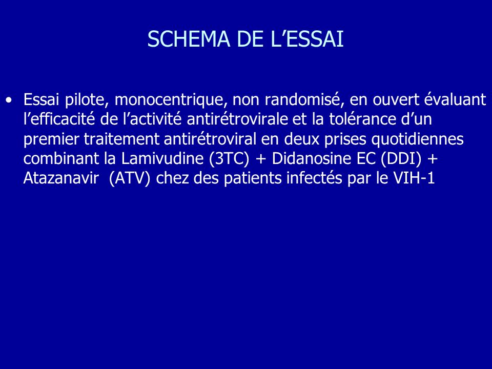 SCHEMA DE LESSAI Essai pilote, monocentrique, non randomisé, en ouvert évaluant lefficacité de lactivité antirétrovirale et la tolérance dun premier t