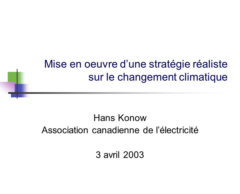 Mise en oeuvre dune stratégie réaliste sur le changement climatique Hans Konow Association canadienne de lélectricité 3 avril 2003