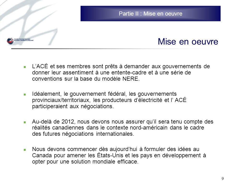 9 Mise en oeuvre LACÉ et ses membres sont prêts à demander aux gouvernements de donner leur assentiment à une entente-cadre et à une série de conventions sur la base du modèle NERE.
