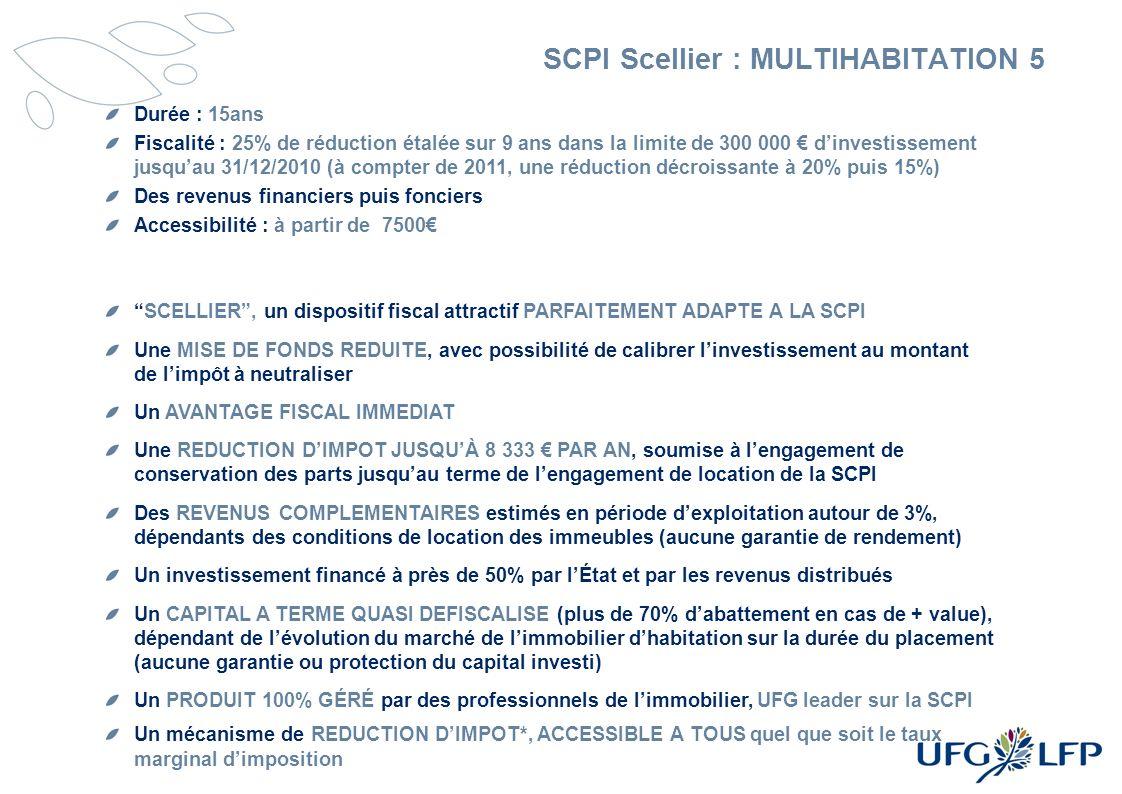 SCPI Scellier : MULTIHABITATION 5 Durée : 15ans Fiscalité : 25% de réduction étalée sur 9 ans dans la limite de 300 000 dinvestissement jusquau 31/12/
