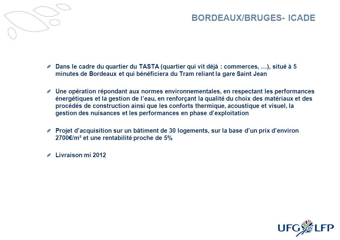 BORDEAUX/BRUGES- ICADE Dans le cadre du quartier du TASTA (quartier qui vit déjà : commerces, …), situé à 5 minutes de Bordeaux et qui bénéficiera du