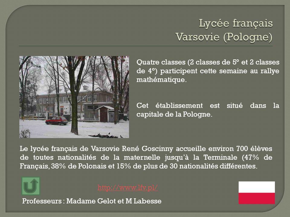 Professeurs : Madame Gelot et M Labesse Le lycée français de Varsovie René Goscinny accueille environ 700 élèves de toutes nationalités de la maternel