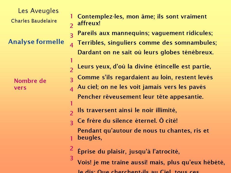 Les Aveugles Charles Baudelaire Analyse formelle Nombre de strophes 1 2 3 4 Contemplez-les, mon âme; ils sont vraiment affreux! Pareils aux mannequins