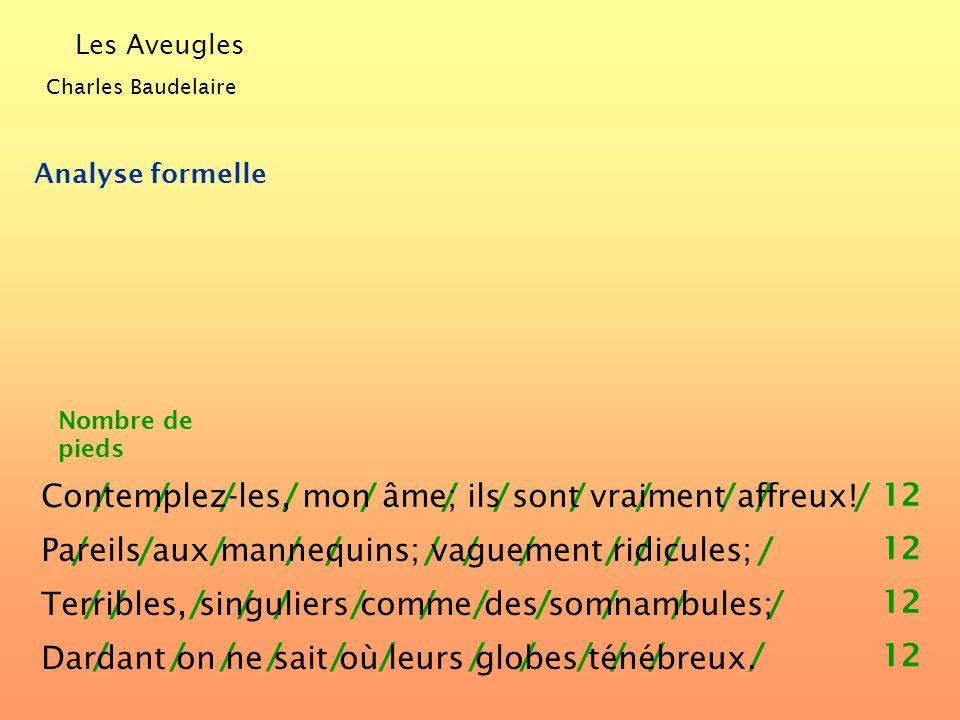 Les Aveugles Charles Baudelaire Analyse formelle Nombre de vers 2 3 2 4 1 4 3 1 2 3 1 2 3 1 Contemplez-les, mon âme; ils sont vraiment affreux! Pareil